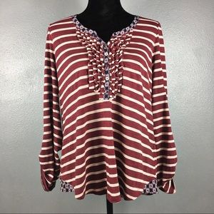 Anthropologie Large Postage Stamp Striped Top